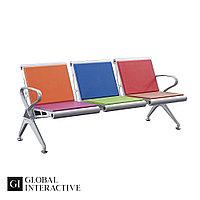 Скамья для залов ожидания 3-х местная металлическая с мягкой сидушкой (аэропорты, больницы), модель Bon - 34/1