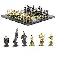 """Подарочные шахматы """"Европейские"""" из камня и бронзы 44х44 см"""