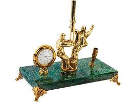 Настольный прибор Скважина с подставкой для ручки, зеленый/золотистый (артикул 61713)