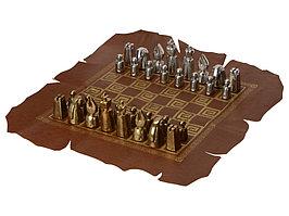 Шахматы биметаллические, шахматное поле из натуральной кожи (артикул 540010)