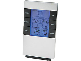 Настольная метеостанция Como с часами-будильником, серебристый/черный (артикул 11505200)