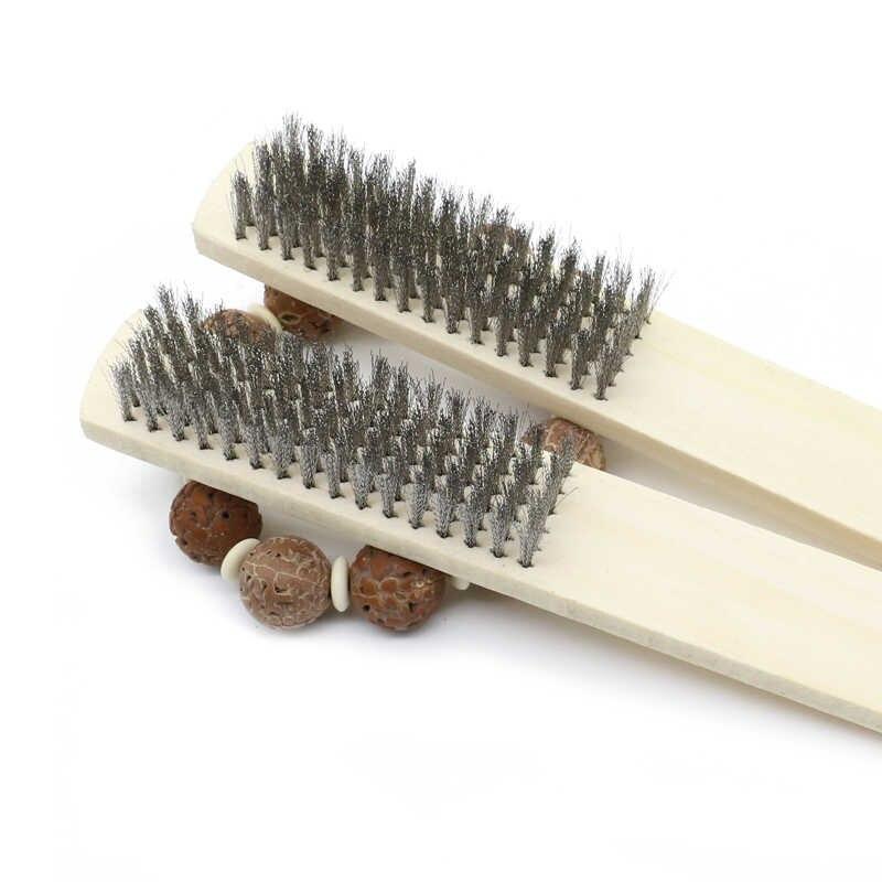 Щетка ручная ворс нержавеющая сталь деревянная рукоятка TOROS TOOLS