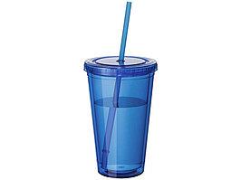 Термостакан с соломинкой Cyclone, синий (артикул 10023402)