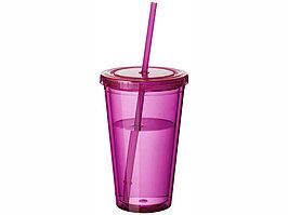 Термостакан с соломинкой Cyclone, розовый (артикул 10023406)