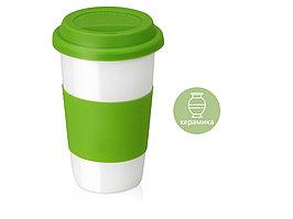 Кружка с силиконовой крышкой и манжетой  Нью-Йорк 300мл, зеленый (артикул 872833)