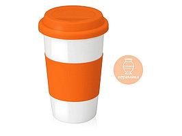 Кружка с силиконовой крышкой и манжетой  Нью-Йорк 300мл, оранжевый (артикул 872838)