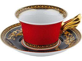 Чайная пара Versace Medusa, красный/золотистый (артикул 82514)