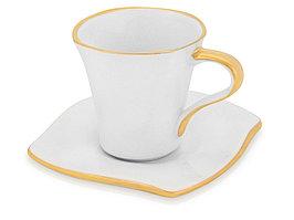 Чайная пара: чашка на 100 мл с блюдцем с золотой каймой (артикул 823515р)