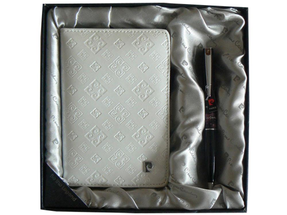 Набор: ручка шариковая, обложка для паспорта. Pierre Cardin, серый (артикул 411140)