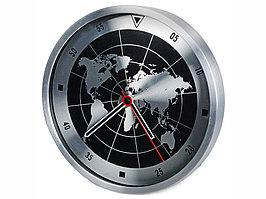 Часы настенные Весь мир, серебристый/черный (артикул 182320)