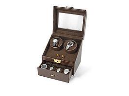 Шкатулка кожаная для часов с автоподзаводом Респект, коричневый (артикул 836727)