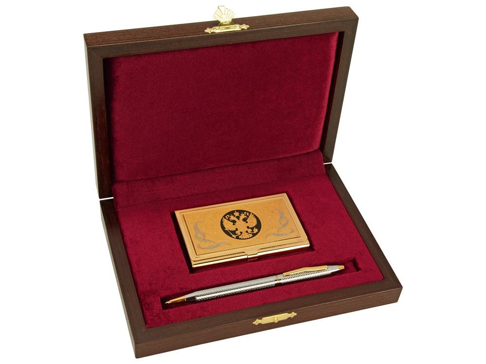 Набор Российский менеджмент: визитница, ручка шариковая, золотистый/серебристый (артикул 300622)