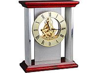Часы настольные Статус, серебристый/золотистый/красное дерево (артикул 126211)