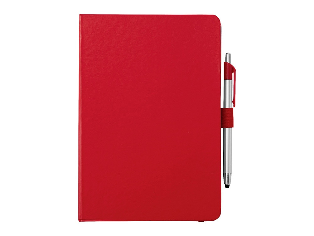 Блокнот A5 Crown с шариковой ручкой-стилусом, красный/серебристый (артикул 10685202)