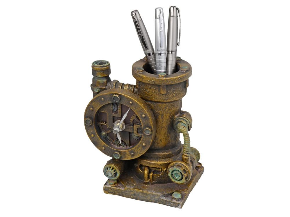 Часы-карандашница, бронзовый (артикул 46104)