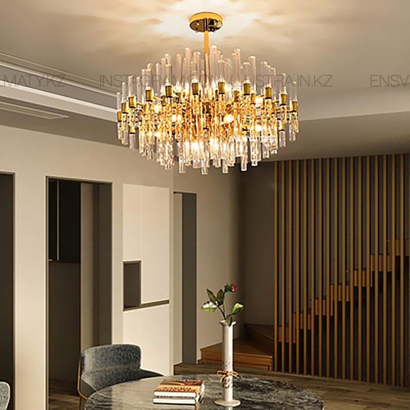 Люстра в стиле modern, на 10 ламп, цвет золото, цоколь Е14