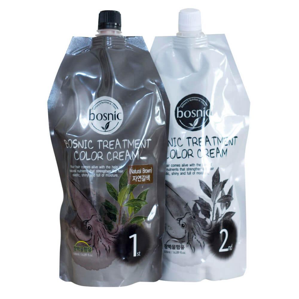 Крем-краска для волос  натуральный коричневая от Bosnic Treatment Color Cream Natural Brown , 500 мл+500мл