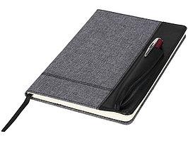 Блокнот А5 с кожаной вставкой, серый/черный (артикул 10723000)