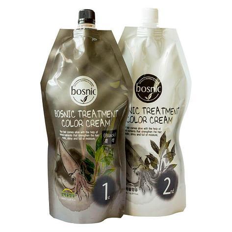 Крем-краска для волос  черная от Bosnic Treatment Color Cream Black , 500 мл+500мл, фото 2