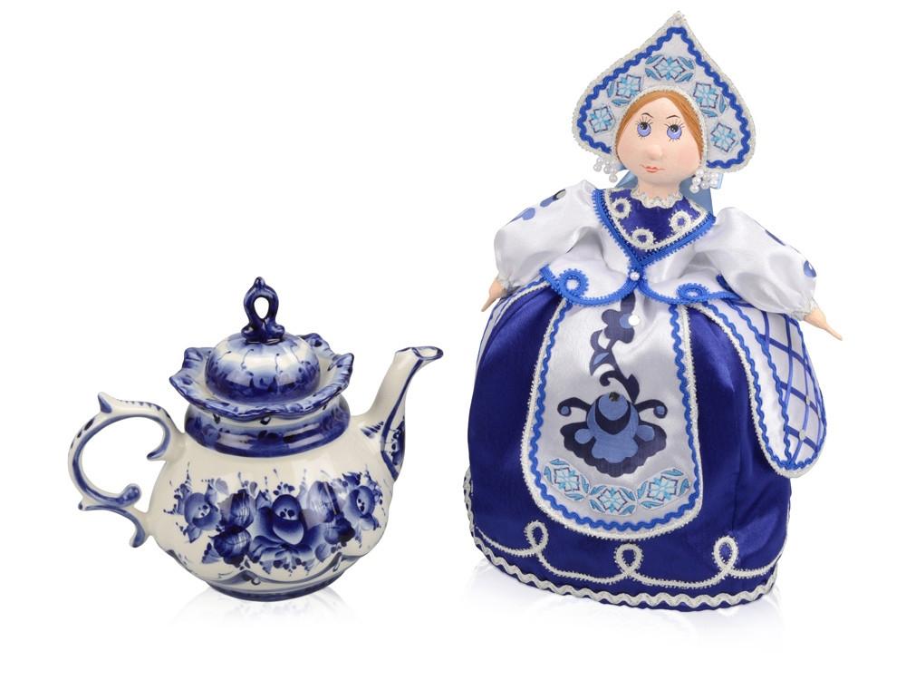 Набор Гжель: кукла на чайник, чайник заварной с росписью (артикул 6268)