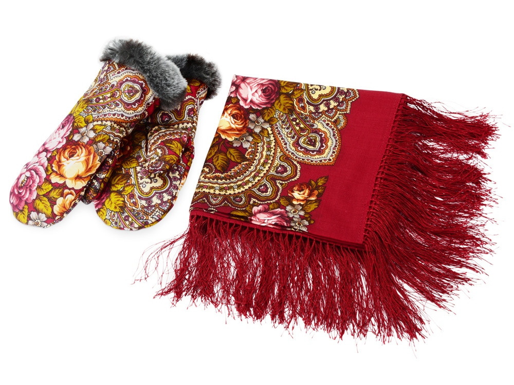Набор: Павлопосадский платок, рукавицы, красный/разноцветный (артикул 94729)