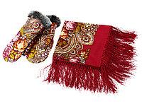 Набор: Павлопосадский платок, рукавицы, красный/разноцветный (артикул 94729), фото 1