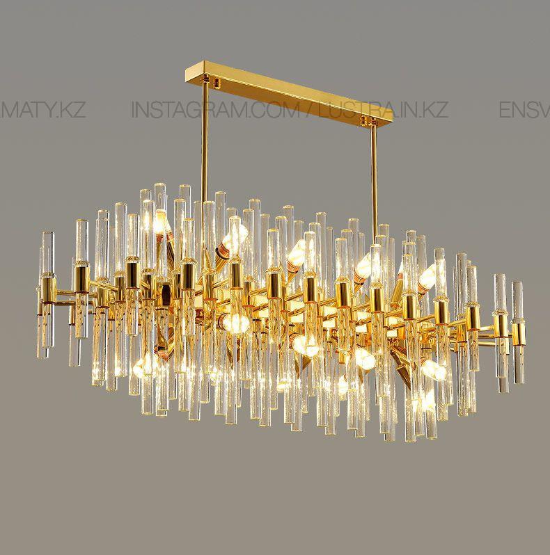 Люстра овальная в стиле modern, на 16 ламп, цвет золото, цоколь Е14