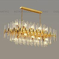 Люстра овальная в стиле modern, на 16 ламп, цвет золото, цоколь Е14, фото 1