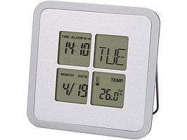 Погодная станция-часы, будильник, календарь Livorno, серебристый (артикул 11507100)