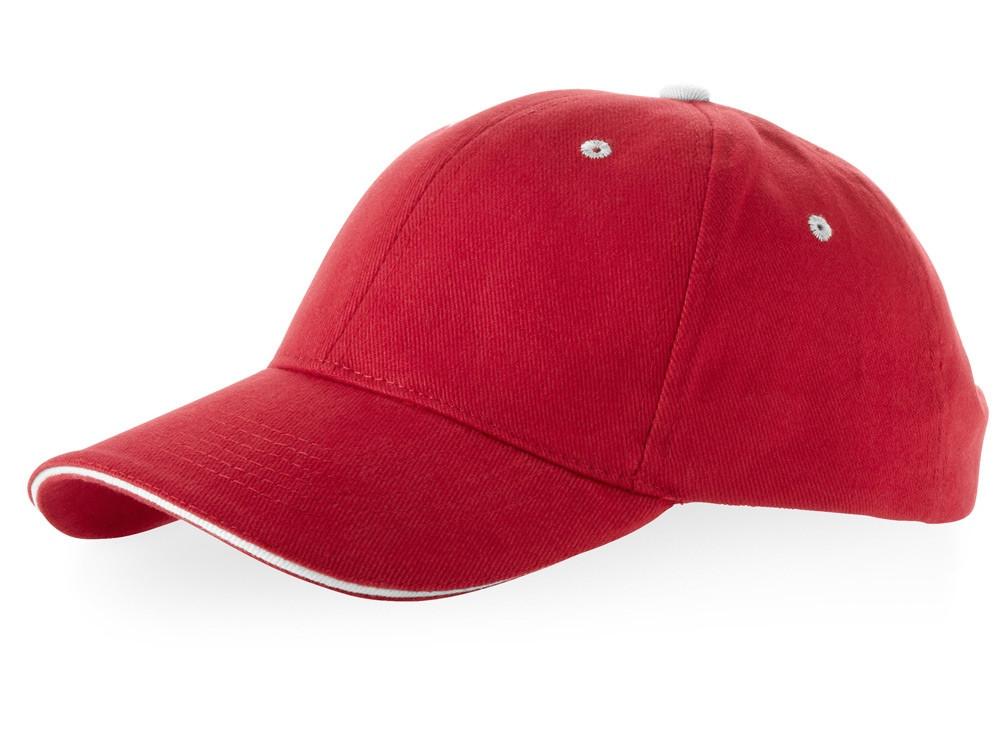 Бейсболка Brent типа сэндвич, 6 панелей, красный/белый (артикул 38656250)