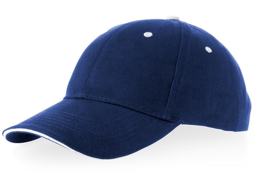Бейсболка Brent типа сэндвич, 6 панелей, темно-синий/белый (артикул 38656490)