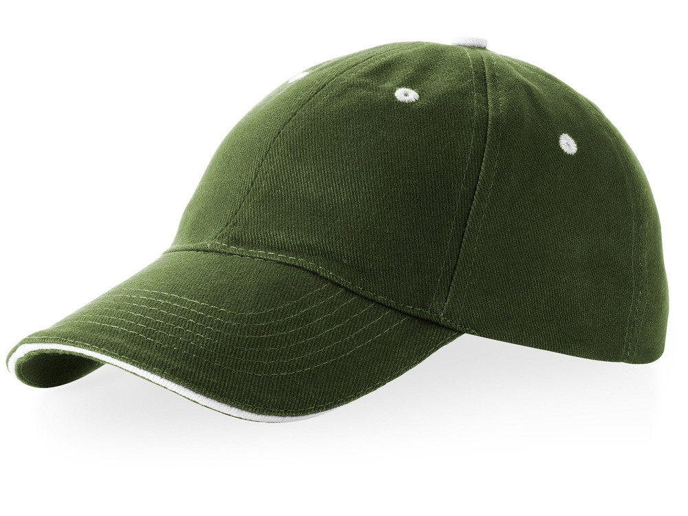 Бейсболка Brent типа сэндвич, 6 панелей, зеленый армейский/белый (артикул 38656700)
