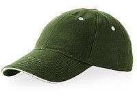 Бейсболка Brent типа сэндвич, 6 панелей, зеленый армейский/белый (артикул 38656700), фото 1