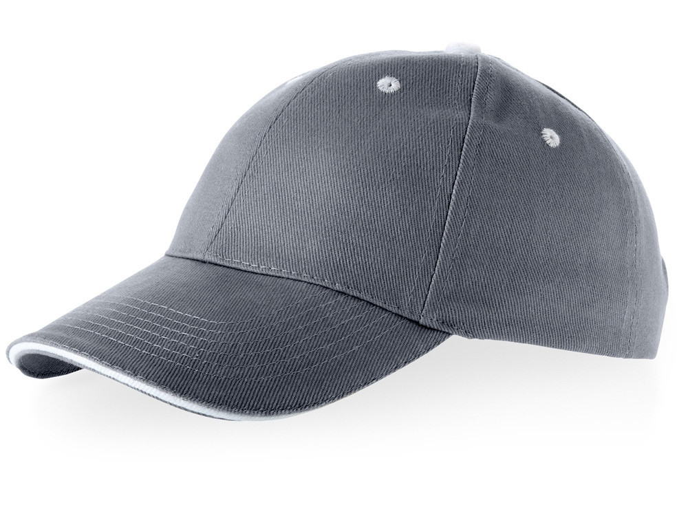 Бейсболка Brent, сэндвич, 6 панелей, серый/белый (артикул 38656920)