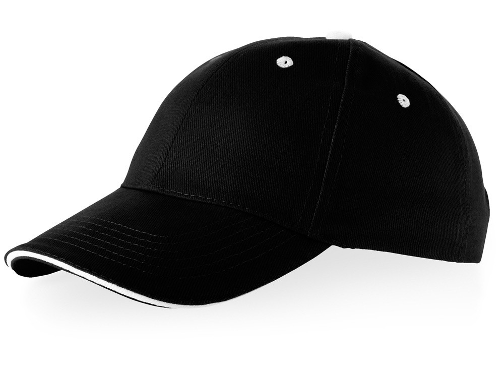 Бейсболка Brent, сэндвич, 6 панелей, черный/белый (артикул 38656990)