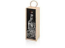 Пенал на 1 бутылку с грифельной крышкой, натуральный (артикул 625056)