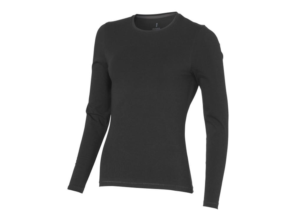Ponoka женская футболка из органического хлопка, длинный рукав, антрацит (артикул 3801995S)
