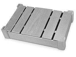 Подарочная деревянная коробка, серебристый (артикул 625043)