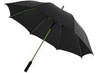 Зонт трость Spark полуавтомат 23, черный/лайм (артикул 10908702), фото 1