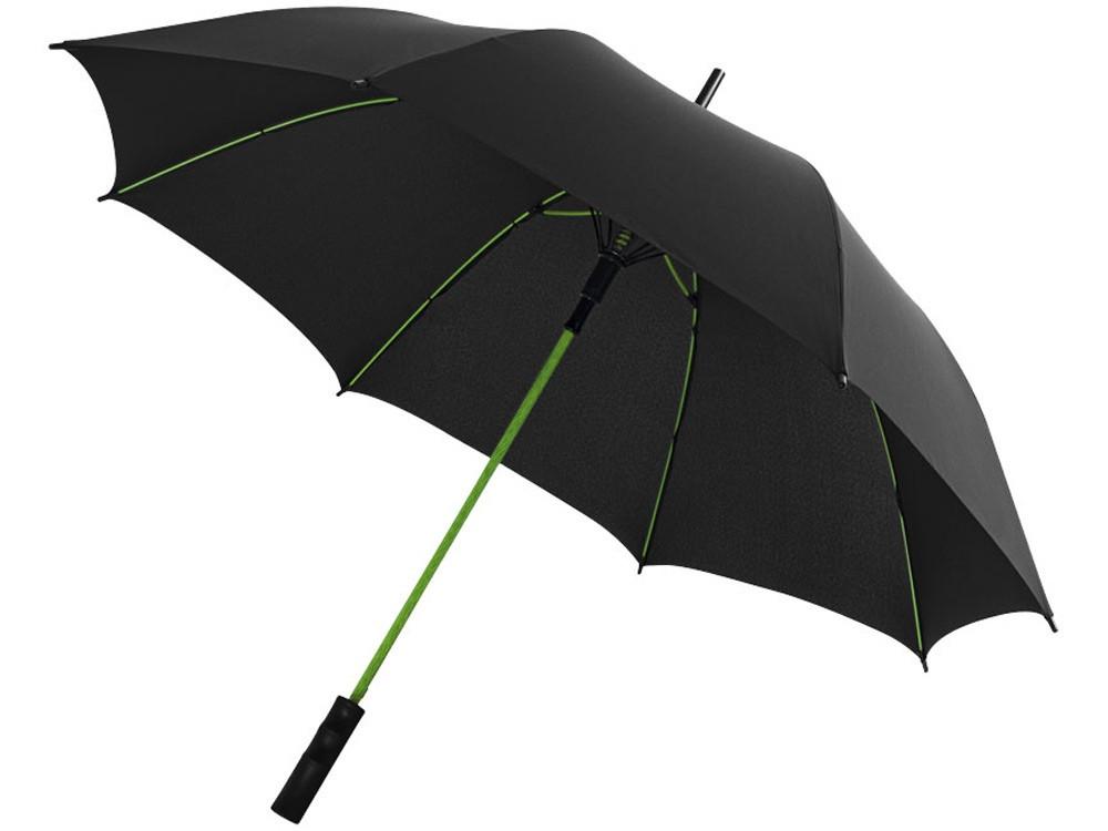 Зонт трость Spark полуавтомат 23, черный/лайм (артикул 10908702)