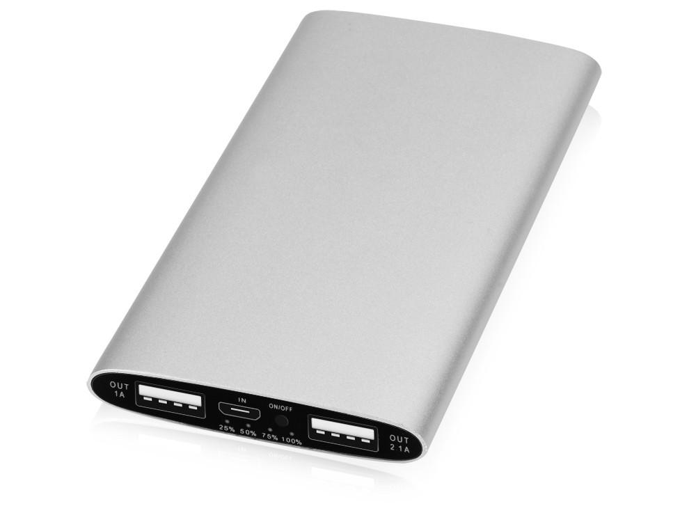 Портативное зарядное устройство Мун с 2-мя USB-портами, 4400 mAh, серебристый (артикул 392470)