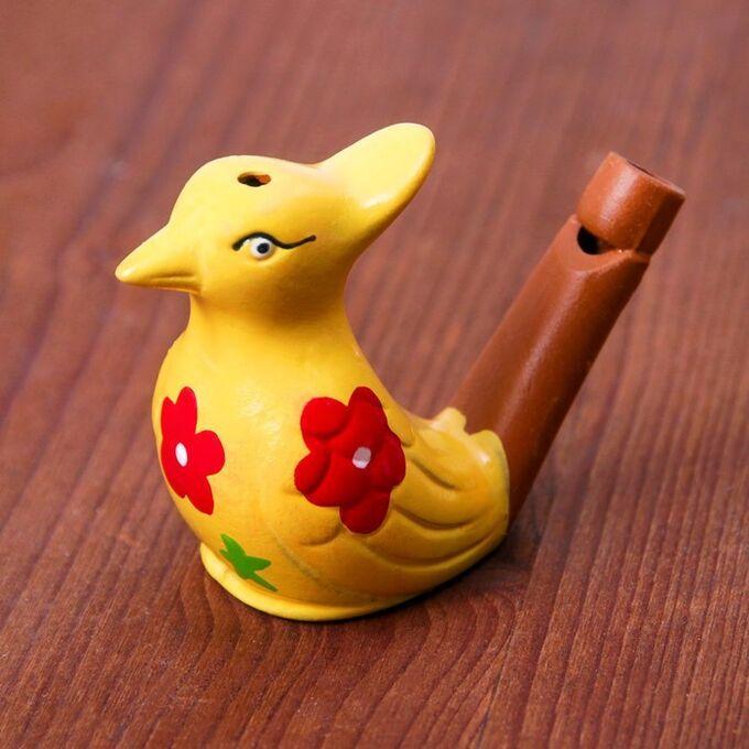 Сувенир Керамическая свистулька Птичка с хохолком