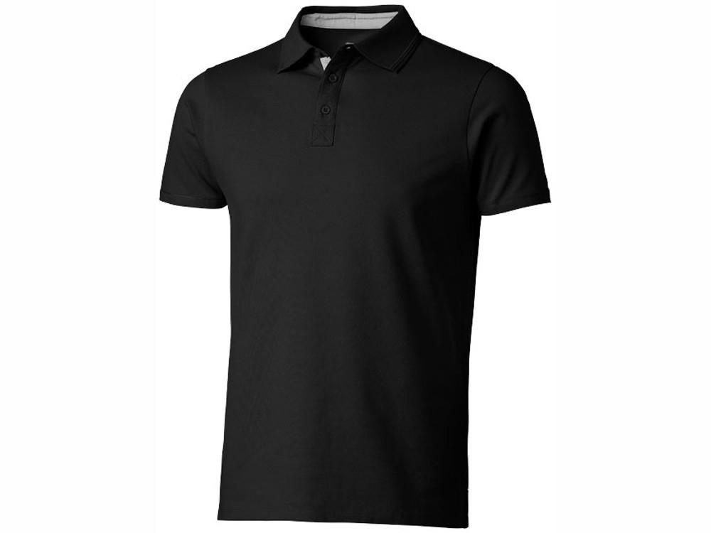 Поло с короткими рукавами Hacker, черный/серый (артикул 3309699S)