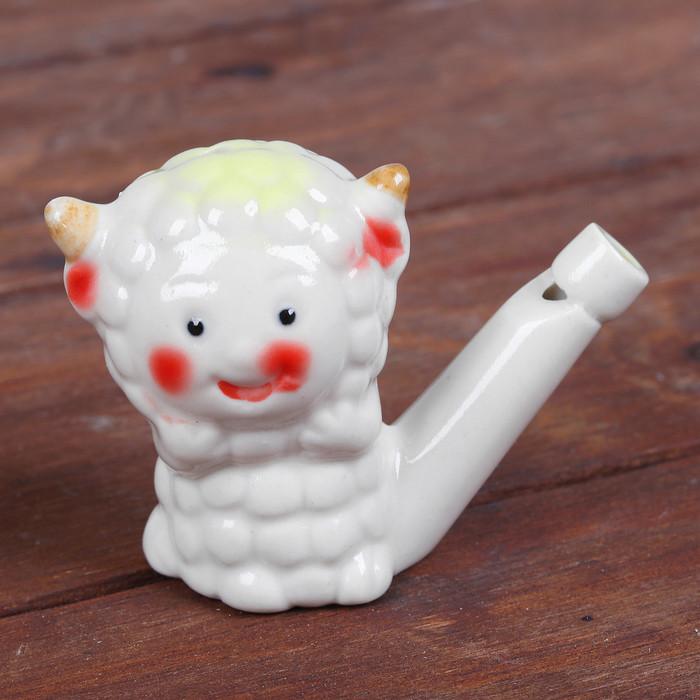Сувенир Керамическая свистулька Веселая овечка