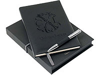 Набор Yavia: дизайнерский блокнот, ручка шариковая. Christian Lacroix, черный/серебристый (артикул 60404)
