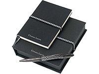 Набор Leban: блокнот, ручка шариковая. Christian Lacroix, черный/серебристый (артикул 60405)