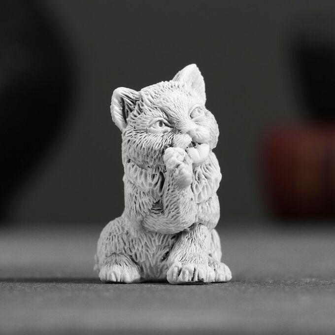 Сувенир Маленький Котёнок Умывается, 4,5 см.