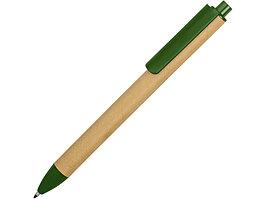 Ручка картонная пластиковая шариковая Эко 2.0, бежевый/зеленый (артикул 18380.03)