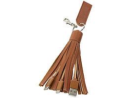 Тканевый кабель для зарядки Tassel 3-в-1, коричневый (артикул 12396401)