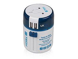 Адаптер с 2-умя USB-портами для зарядки Travel Blue Twist & Slide Adaptor голубой/белый (артикул 10010018)